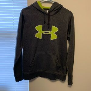 Grey under armour hoodie with green detail